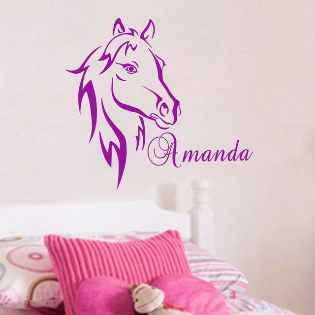Custom DIY Gepersonaliseerde Naam Paard Hoofd Muursticker Vinyl Muur Art Kwekerij Muurstickers Home Decor voor Kinderen Kamers 21 KLEUR