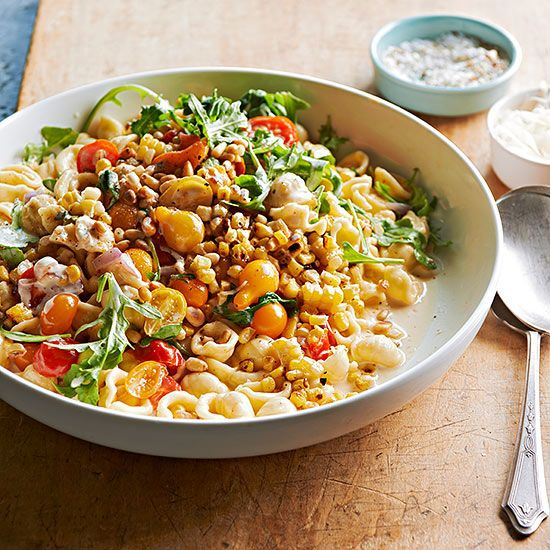 HIGH PROTIEN VEGETARIAN RECIPES. Crecchiette in Creamed Corn with Wilted Tomatoes and Arugula