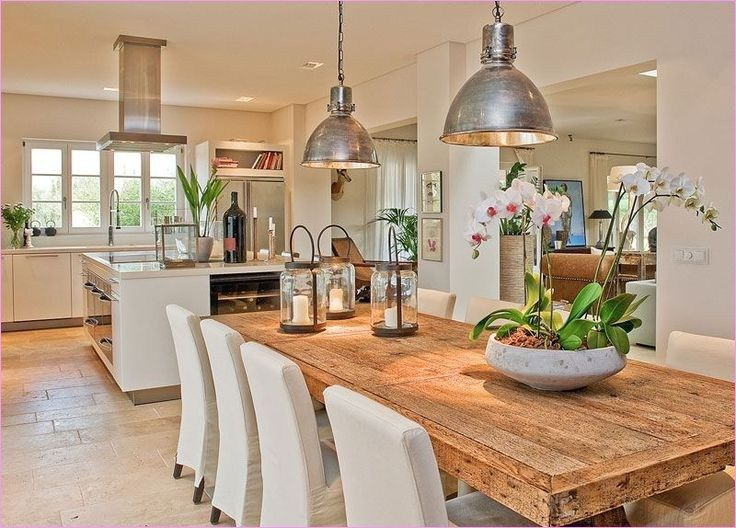 46 Stunning Farmhouse Decorating Open Kitchen To Living Area Craft And Home Ideas Kitchen Living Living Room Kitchen Farmhouse Dining