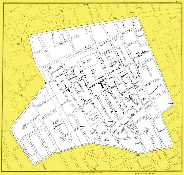 John Snow's Map 1 (1854) Famous depiction of London cholera outbreak and possible cause.