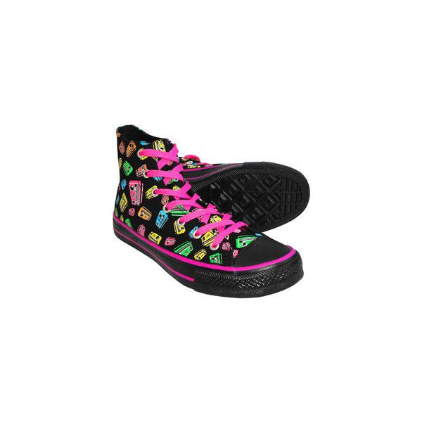 Blue Banana - Neon 'Cassette' Print Boot (Black) ($15) ❤ liked on Polyvore featuring shoes, sneakers, converse, neon sneakers, neon shoes, blue sneakers, fluorescent shoes and kohl shoes