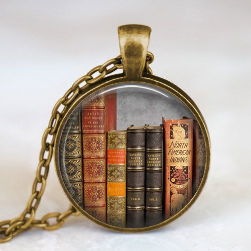 Vintage books pendant necklace , Book lover pendant , Books  jewelry ,  librarian gift, writer ,teacher , book nerd gift necklace (my friend melissa would love this)