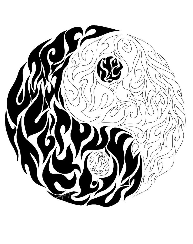 a yin yang coloring sheet drew as it is on fire from the gallery