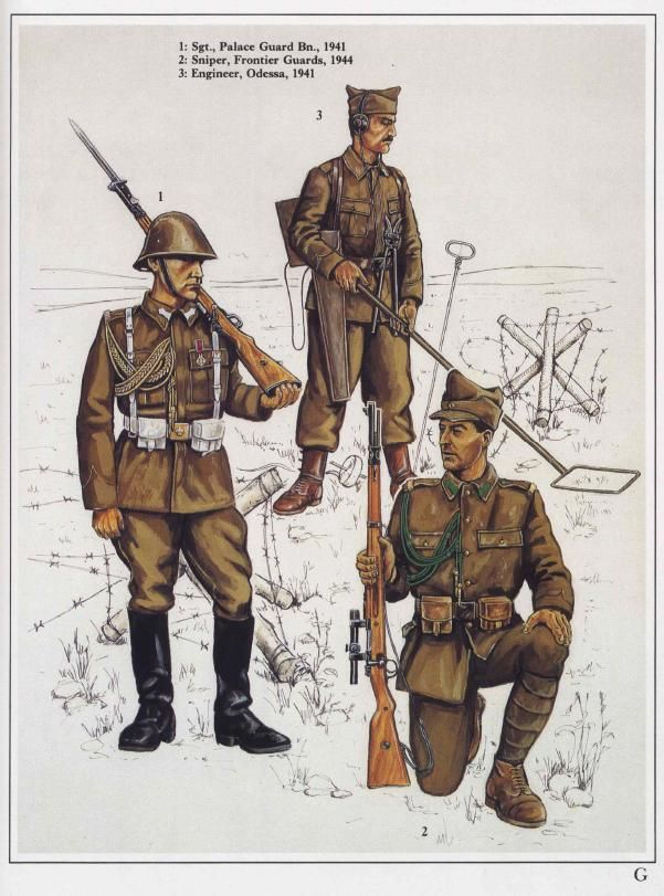 WWII-era Romanian Army enlisted soldiers' uniforms.