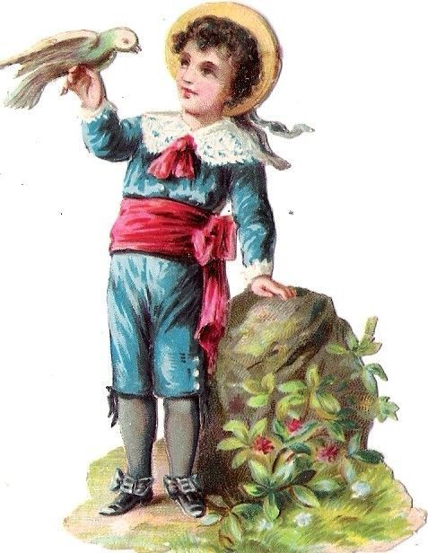 Oblaten Glanzbild scrap die cut  chromo Kind child Taube dove Stein rock