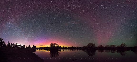 Breathtaking Northern Lights Photos of 2015 Astrophotographer Jason Brownlee sent in an 8-shot panorama of the aurora borealis in the eastern and western sky arcing like a rainbow in Bend, Oregon,