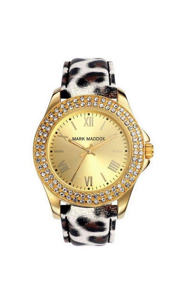 Un nuevo modelo con el que tu look salvaje brillara! Reloj tres agujas con correa animal print y esfera color dorado. Bisel con piedras. Cierre de hebilla. Cristal mineral. Impermeable 30m (3ATM).