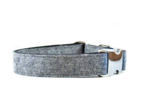 Chambray Linen Dog Collar - Dark Denim Black Charcoal Fabric Metal Buckle Adjustable Boy Dog Collar