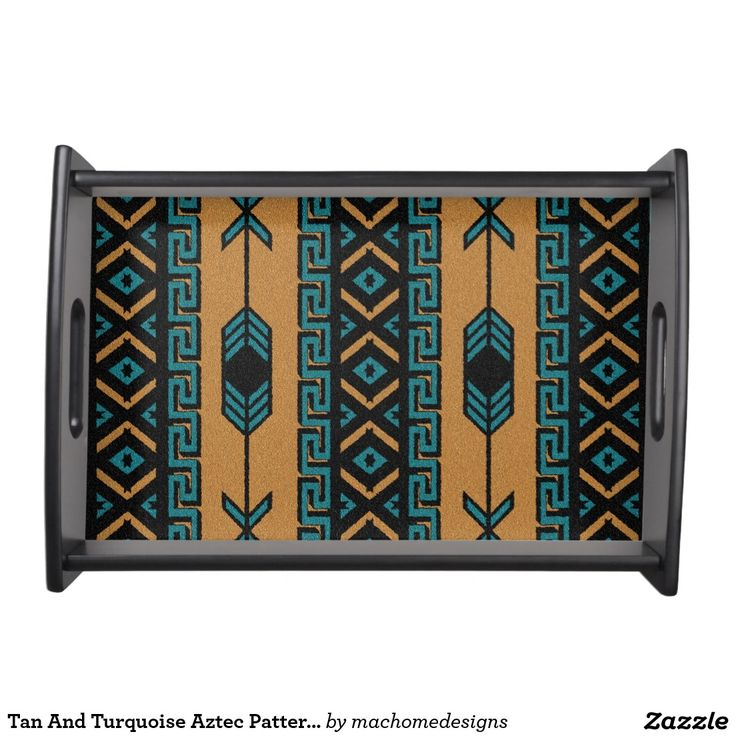 Tan And Turquoise Aztec Pattern Southwestern Serving Tray
