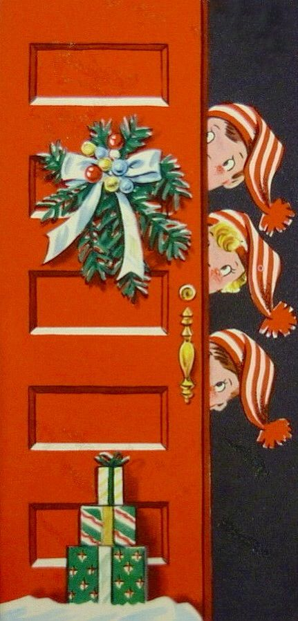 380 best vintage christmas cards 1940 50 images on pinterest vintage greeting 3 candy cane striped hat children peeking white christmas card m4hsunfo