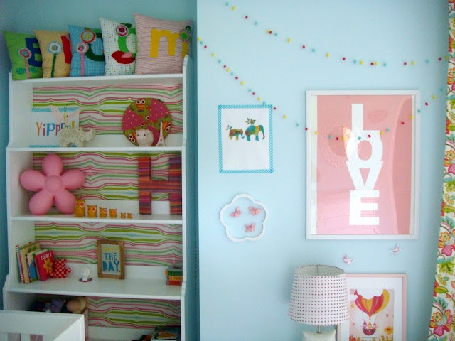blue girl's room with pops of color