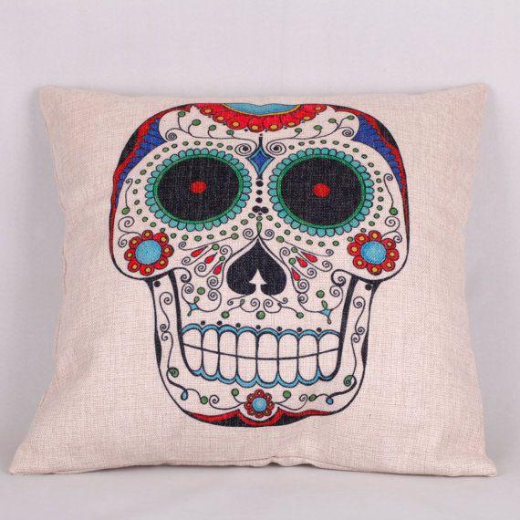 Decorative Linen Skull Throw Pillow Case Cushion by creatlife, $15.99