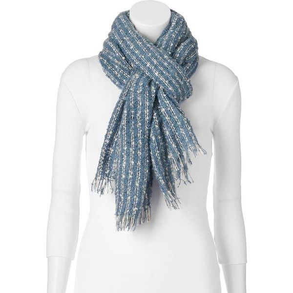 Apt. 9® Frayed Boucle Oblong Blanket Scarf (1.275 RUB) ❤ liked on Polyvore featuring accessories, scarves, blue, patterned scarves, blue scarves, striped scarves, apt. 9 and striped shawl
