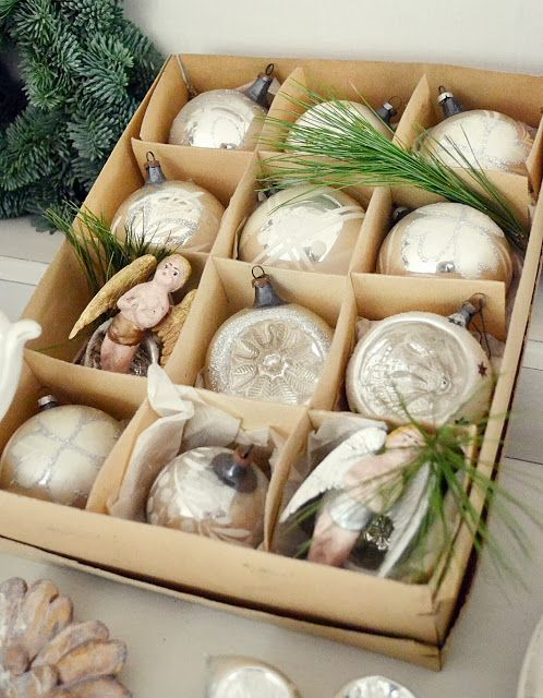 white christmas, vintage ornaments, box of old white ornaments