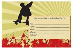 Birthday Party Invitations Free Skateboard Birthday Party
