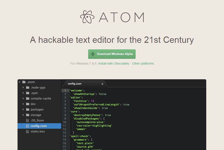 Atom | A hackable text editor for the 21st Century | made by @Github -- So far I think I'm loving it...