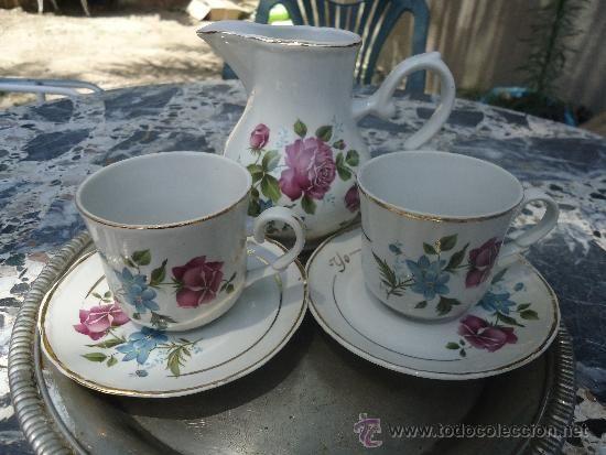 Preciosa jarrita porcelana y juego de tazas y platitos de for Juego tazas cafe