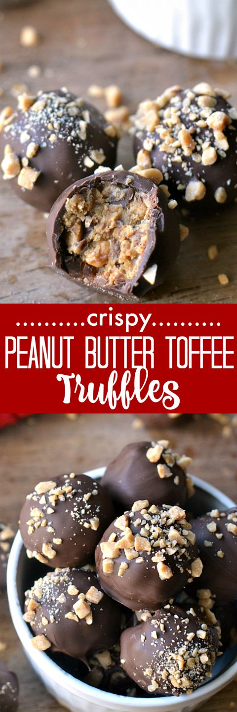 Crispy Peanut Butter Toffee Truffles - these make the BEST gifts!