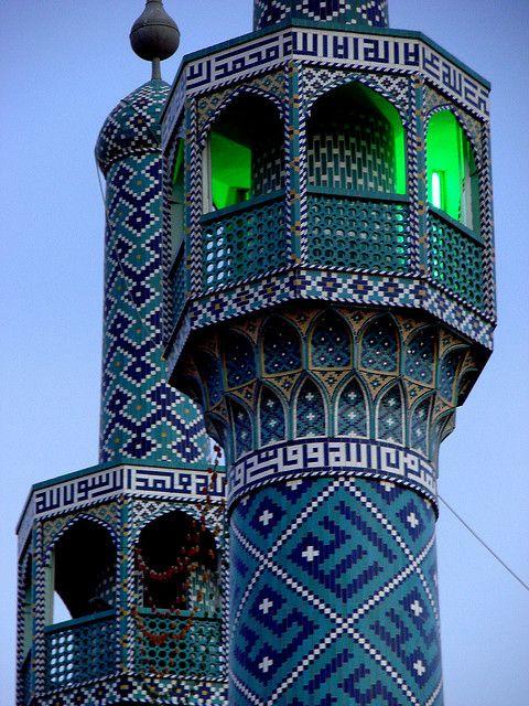 Beautiful minarets in Yazd city, Iran