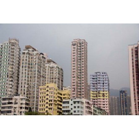New Territories high-rise apartments Hong Kong China Canvas Art - Cindy Miller Hopkins DanitaDelimont (34 x 23)
