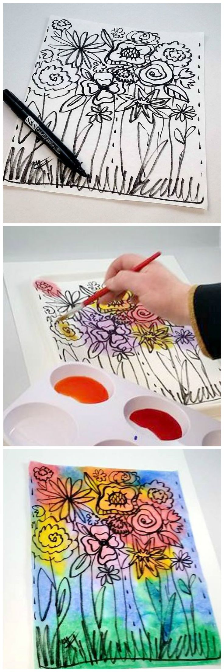 Watercolor paper coloring book - Only Three Materials Needed For This Easy Art Project Permanent Marker Diffusing Paper