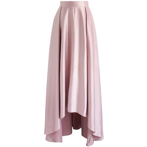 Chicwish Walk on the Red Carpet High Low Maxi Skirt in Pink ($55) ❤ liked on Polyvore featuring skirts, pink, floor length skirt, short in front long in back skirt, long high low skirt, pink skirt and ankle length skirt