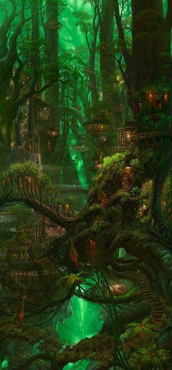 Fantastique - Maisons dans les arbres au milieu d'une forêt. Féerique