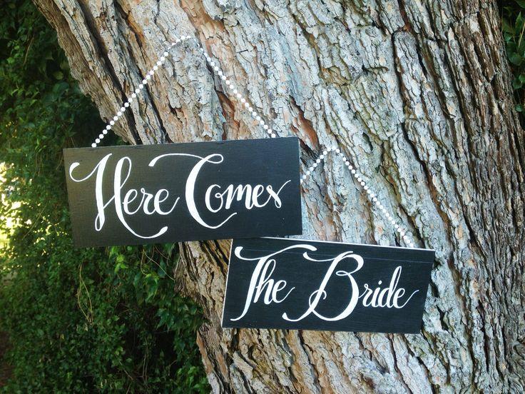"DIY Wedding ""here comes the bride"" Chalkboards!"