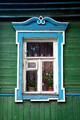 traditional decorative carved wood window frame, suzdal, russia   architectural details