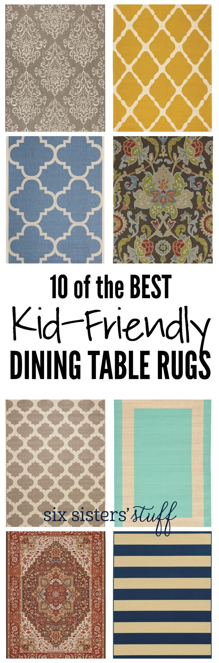 10 of the BEST Kid-Friendly Dining Table Rugs on SixSistersStuff.com