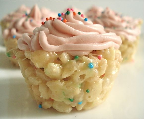Cake Batter Rice Krispie Cupcakes. Seriously. I love the idea of putting