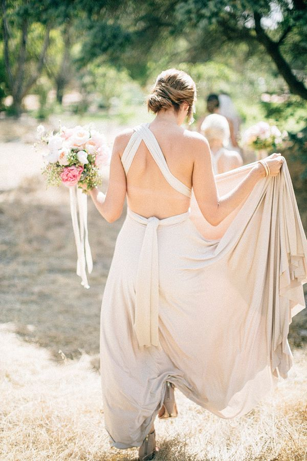Oyster two birds bridesmaid dress | A real wedding featuring our multiway, convertible wrap dresses | photo by Natasja Kremers http://ruffledblog.com/sweet-western-australia-wedding #bridesmaidsdress #twobirds