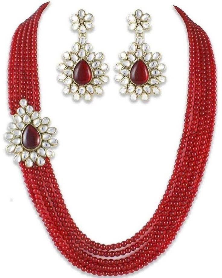 Attractive Stylish Strand Red Kundan Brooch Multi layer Bollywood Necklace Set  #natural_gems15
