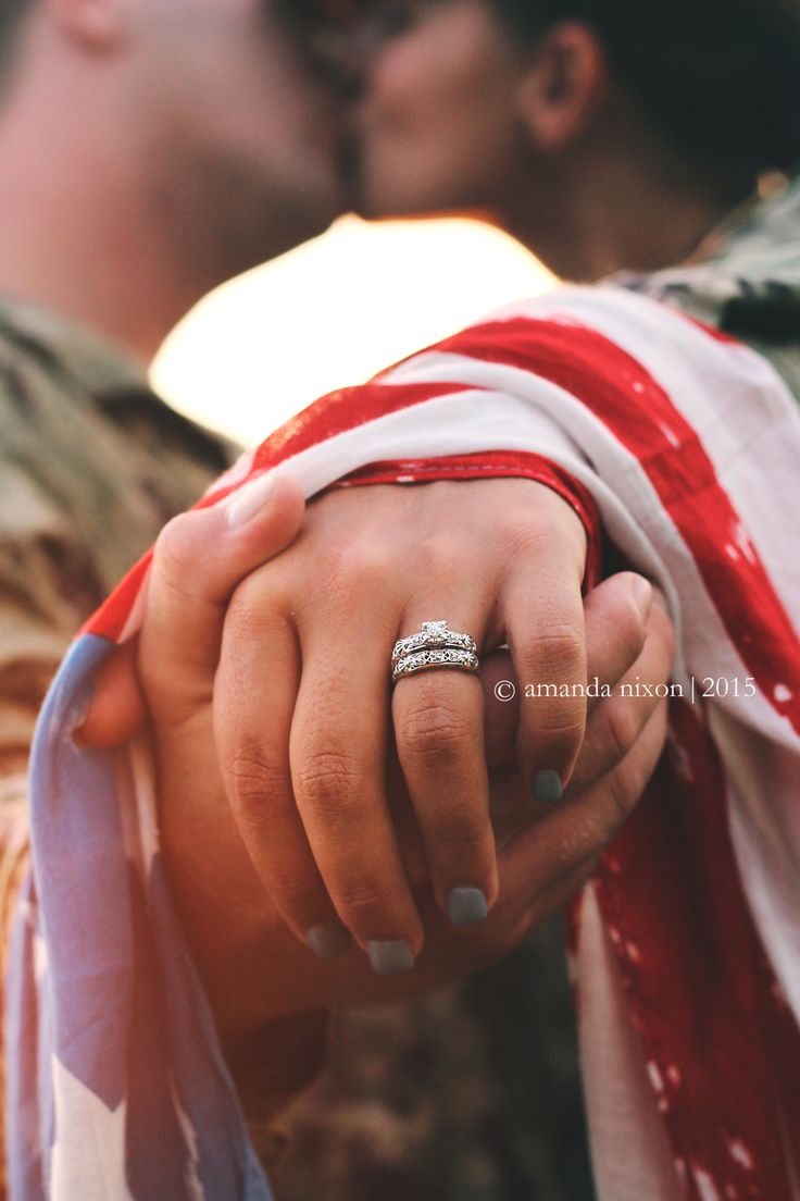 Dual Military Engagement Ring Photo Idea | © Amanda Nixon