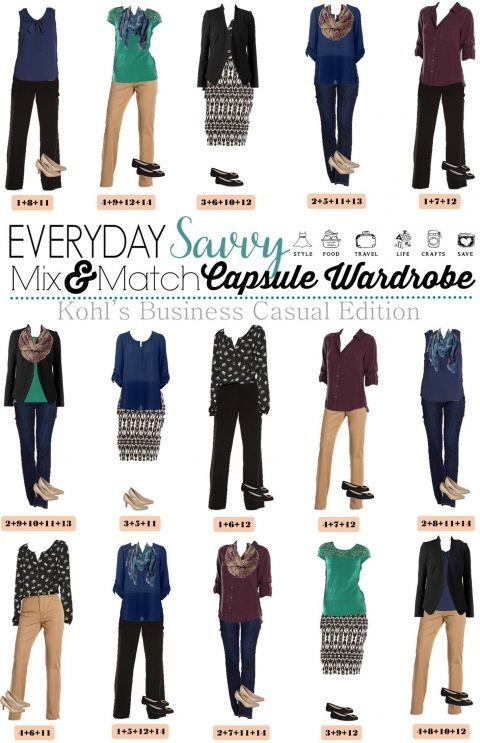Here is a Business Casual Capsule Wardrobe for Fall with items from Kohls.  These pieces mix and match for 15 great outfits for the office  that will have you looking great this fall.