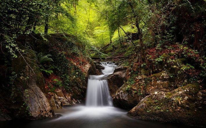 Download wallpapers waterfall, forest, green trees, river, Artikutza, Goizueta, Navarre, Spain