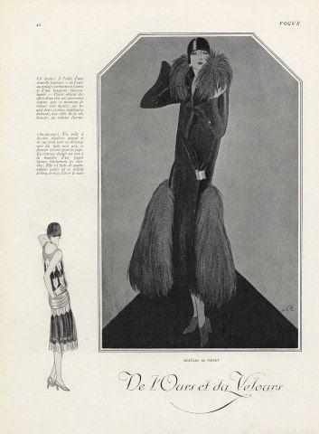 Paul Poiret 1925 Fashion Illustration Fur