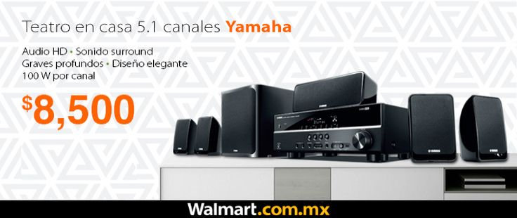 """Teatro en casa Yamaha: elegante y súper potente. Compra en línea con PayPal y participa para ganar una Smart TV Sony LED de 55"""". Walmart.com.mx, Hacemos Clic!"""
