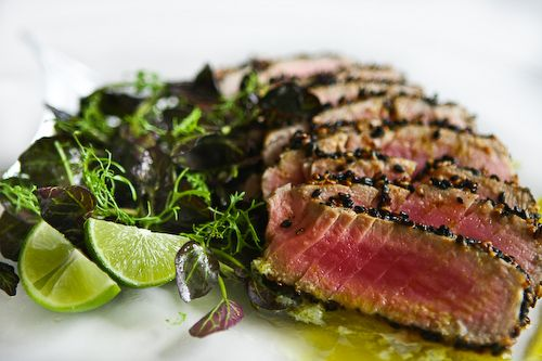 Sesame Seared Tuna with Lime Ginger Vinaigrette ~ http://steamykitchen ...