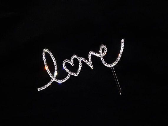 Swarovski Crystal Bling Cake Topper LOVE by BlingNbliss on Etsy, $59.99