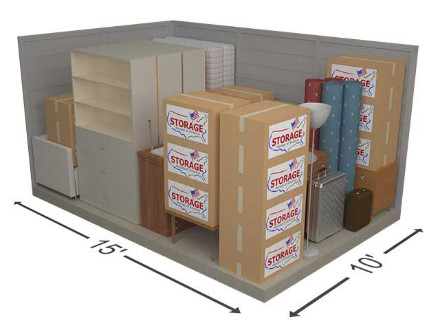 Our 10x15 Units Is Equivalent To Storing A Two Bedroom Apartment See What You Can Store By Using Our In Storage Unit Sizes Storage Rental Ikea Bedroom Storage
