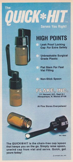 "Quick Hit.  Advertisements for cocaine and cocaine accessories from the 1970s and 1980s. Such drug accessory ads were made illegal in the US by the 1986 a Federal Drug Paraphernalia Statute in the Controlled Substances Act. To ""sell, transport through the mail, transport across state lines, import, or export drug paraphernalia as defined"" became a criminal act."