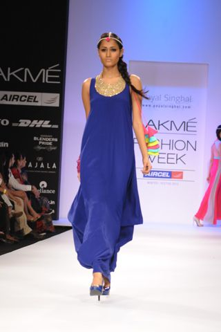 Cobalt Crepe Cowl Dress with Gold Necklace. SHOP THE LOOK AT http://www.payalsinghal.com/off-the-runway/cobalt-blue-cowl-dress