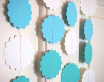 Guirnaldas de papel de Aqua/turquesa/blanco para la decoración del partido/ducha