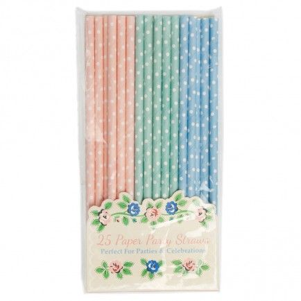 25 Pink, Green and Blue Polkadot Paper Straws - included in the Baby Shower Party Pack $115.00 www.strawberry-fizz.com.au
