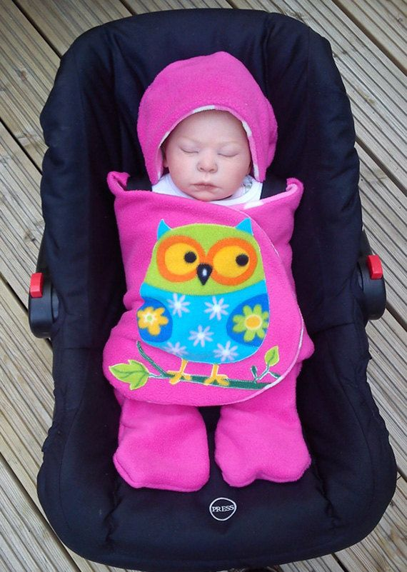 owl car seat cosy wrap swaddle blanket hot pink by siennachic cute baby stuff. Black Bedroom Furniture Sets. Home Design Ideas
