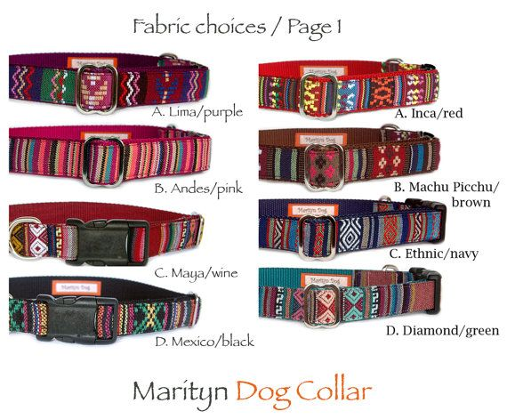 Personalized dog collar. Embroidered dog collar I engrave your personalized information on metal (silver or gold color) or black plastic buckle for ID. ID buckle is securely sewn to dog collar band so you will never loose identification for your dogs safety!  Unique & trendy embroidered Aztec, Tribal, Navajo, Native American style fabric dog collars are perfect for both boy dogs and girl dogs. (These items are made by me / Marityn Dog. I am Not Native American or belong to any kind of…