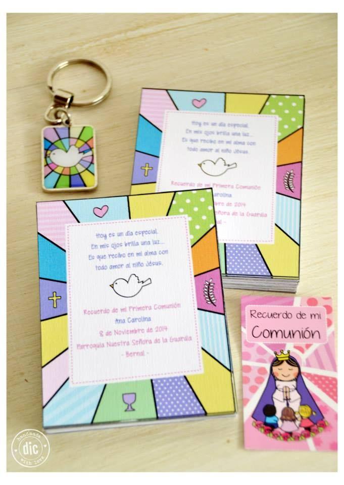 Estampas Comunión niña #souvenirs #llaveros #colores