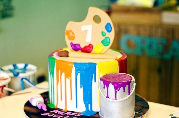 Paint drip, paint can, and pallet cake from Rainbow Art + Painting Party at Kara's Party Ideas. See the whole party pallet at karspartyideas.com!