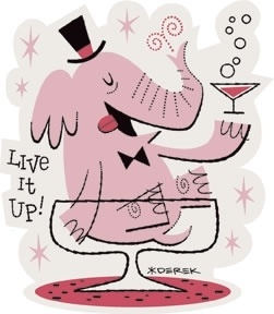Pink Elephant in Martini Glass vintage cocktail art  #happyhour